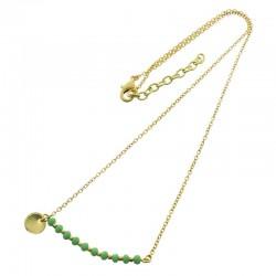 Collier médaille vert d'eau