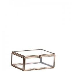 Mini boîte en verre et métal cuivré