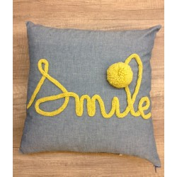coussin chambray SMILE MOUTARDE