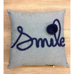 coussin chambray SMILE MARINE