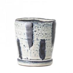Petit pot de fleurs off-white/blue