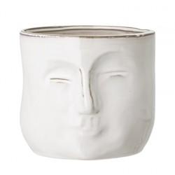 Pot de fleurs blanc visage