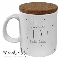 Mug avec couvercle Petit chat bada bada