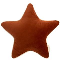 Coussin étoiles velours wild brown