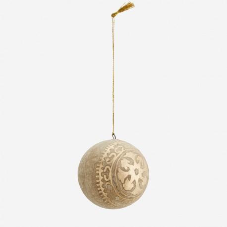 Boule de Noël en papier mâché arabesques dorées