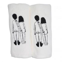 Set de deux serviettes d'invité Couple nu de dos