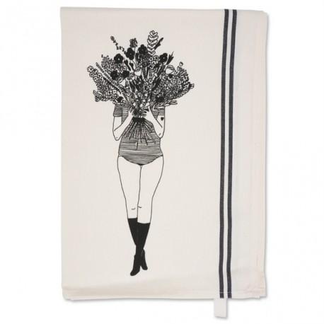Torchon Flower girl ligné
