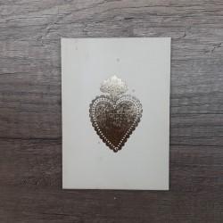 Carte en bois Coeur or