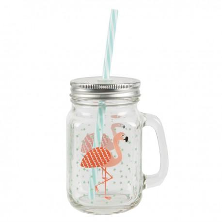 Jar avec paille, Flamant rose