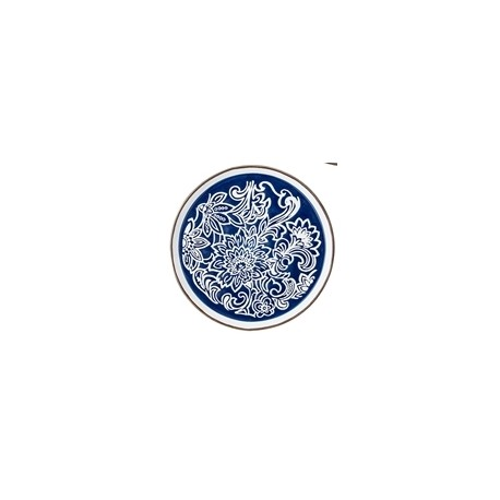 Assiette Molly - Fleurs sur fond bleu