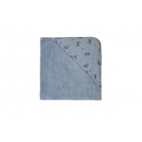 Cape de bain bleu gris imprimé poulpes