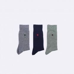 Trio de chaussettes vert et marine 38/41