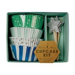 Kit à cupcakes bleu