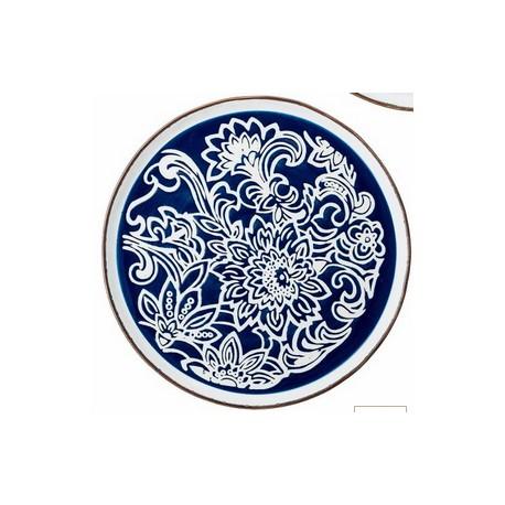 Assiette Molly 24cm - Fleurs sur fond bleu
