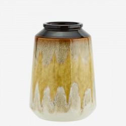 Vase jaune et brun brillant
