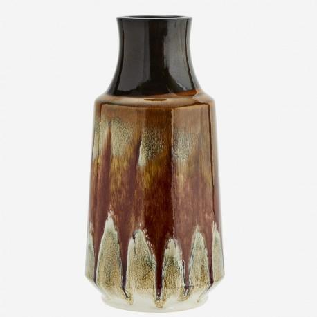 Grand vase orange et brun brillant