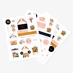 Feuilles de stickers motifs Love and Thank you