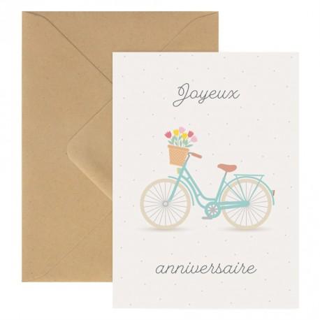 Carte double Joyeux anniversaire Vélo