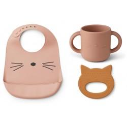 Set de repas et anneau de dentition en silicone - Cat rose