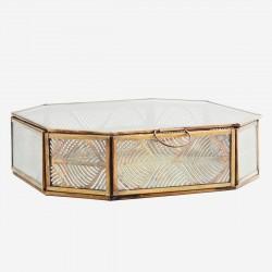 Boîte hexagonale verre et métal feuillage - moyenne