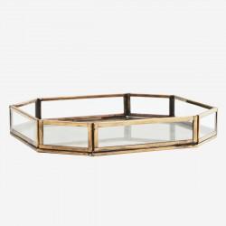 Plateau hexagonal verre et métal feuillage
