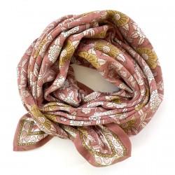 Foulard Latika Coeurs - bois de rose