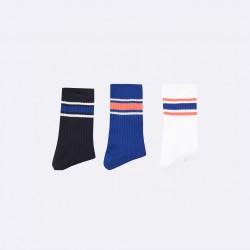 Trio de chaussettes rayées bleu/corail - 38/41