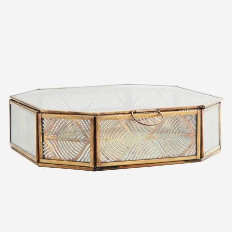 Boîte hexagonale verre et métal feuillage - grande