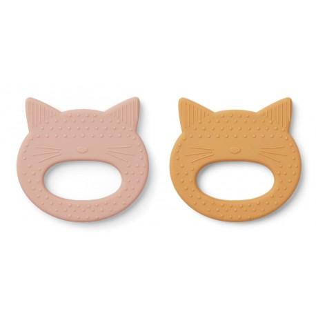 Lot de 2 anneaux de dentition en silicone - Cat rose/yellow mellow