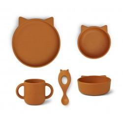 Set de repas en silicone - Cat mustard