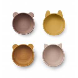 Lot de 4 Iggy silicone bowls - Rose mix