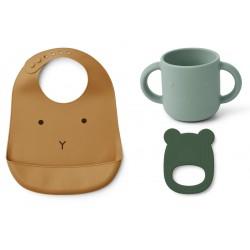 Set de repas et anneau de dentition en silicone - Rabbit mustard
