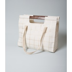 Sac cabas Wood - Doré Carreaux