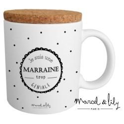 Mug avec couvercle Marraine trop géniale