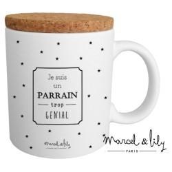 Mug avec couvercle Parrain trop génial