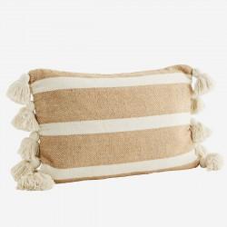 Coussin rectangulaire à pompons - rayé sable