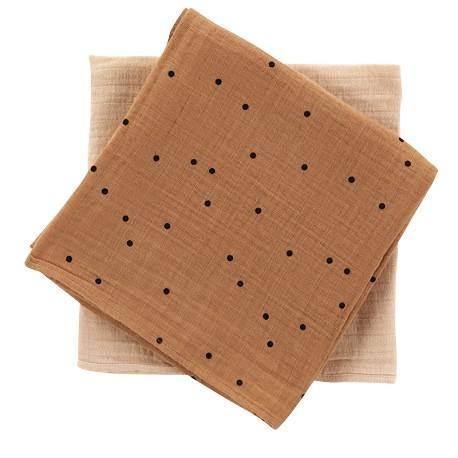 Pack de 2 petits langes Dots nut/nude