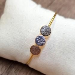 Bracelet/jonc Trio licorne/brun cosmique/or rose
