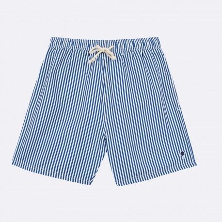 Short de bain rayé bleu marine - Taille M