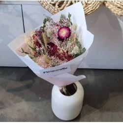 Bouquet séché Prune/fuschia - Taille S