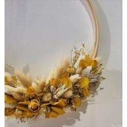 Couronne séchée  Jaune d'or - 25 cm