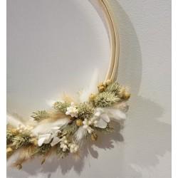 Couronne séchée Blanc beige - 16 cm