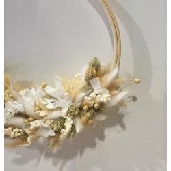 Couronne séchée Blanc beige - 20 cm