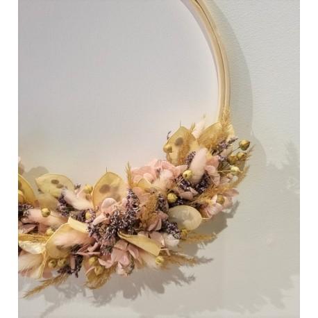 Couronne séchée Parme rose - 25 cm