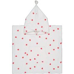 Poncho de bain imprimé coeurs rouge