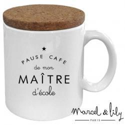 Mug avec couvercle Pause café de mon maître