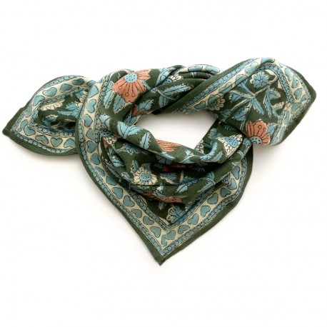 Baby foulard manika Coeurs - eucalyptus