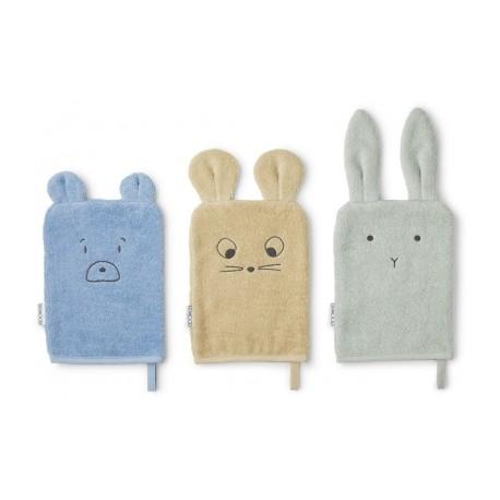 Lot de 3 gants de toilette - Rabbit mint mix