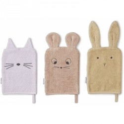 Lot de 3 gants de toilette - Mouse lavender mix