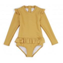 Maillot de bain à manches et volants Yellow mellow - 3/9 mois